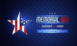 Memorial day illustration with american flag. Vector background Stock Photos