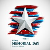 Memorial Day with star on national flag background. Vector illustration royalty free illustration