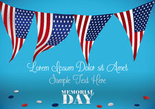 Memorial Day Template with Festive Buntings and Confetti, Vector Illustration. Festive template with American patriotic buntings to celebrate Memorial Day Royalty Free Stock Images