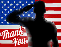 Memorial Day Thank You American Flag. A silhouette soldier saluting with American Flag in the background with Thank You, design for Memorial Day or Veterans Day Royalty Free Stock Photography