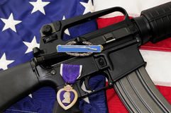 Tribute: Flag, Rifle and Medals. Stock Image