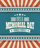 Memorial Day. Typographic card with the American Stock Illustration