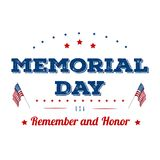 Memorial Day. Typography design layout for USA Memorial Day events, sales, promotion vector illustrator.  Royalty Free Stock Photography