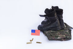 Memorial Day. Uniform, flag, boot, bullets... honor and longing for those who worked in the US military Royalty Free Stock Photography