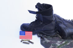 Memorial Day. Uniform, flag, boot, bullets... honor and longing for those who worked in the US military Stock Photos