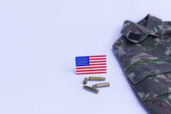 Memorial Day. Uniform, flag, bullets... honor and longing for those who worked in the US military Royalty Free Stock Photography