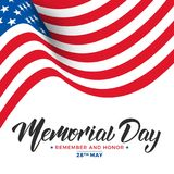 Memorial Day. USA Memorial Day card with lettering and waving flag of USA.  Stock Image