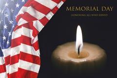 MEMORIAL DAY USA-flagga, USA, brännande stearinljus, arkivbild