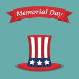 Memorial Day. USA hat with red ribbon in a flat design Royalty Free Stock Photo