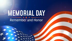 Memorial Day in USA with lettering remember and honor. Holiday of memory and honor of soldiers United States Armed forces. Vector