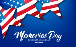 Memorial Day. USA Memorial Day card with lettering and stars of USA flag.  Stock Image