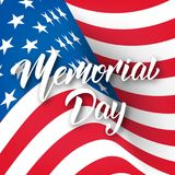 Memorial Day. USA Memorial Day card with lettering and waving flag of USA.  Royalty Free Stock Image