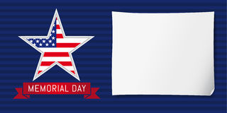 Memorial day USA poster. Happy Memorial Day vector background template with star in national flag colors Royalty Free Stock Photography
