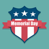 Memorial Day. USA shield with USA flag inside with ribbon Royalty Free Stock Images