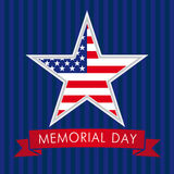 Memorial Day USA strar. Memorial Day with star in national flag colors vector greeting card Stock Photography