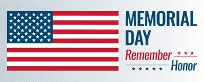 Memorial Day vektorillustration Minns och hedra text med USA flaggan royaltyfri illustrationer
