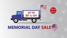 Memorial Day -Verkaufsfahnen-Schablonendesign Stockfotos