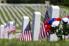 Memorial Day. Veterans cemetery memorial celebration with American Flag Royalty Free Stock Photography