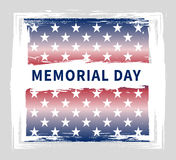 Memorial day vintage grunge poster. Memorial day vintage poster with 50 white stars of US states on a grunge red-blue background Stock Image