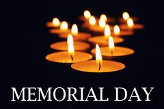 Free Memorial Day. Wax Candles Burning On Black Background Stock Image - 213883551