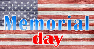 Memorial day words over american flag Stock Image
