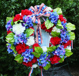 Memorial Day wreath of flowers. Wreath of flowers on Memorial Day stock photography