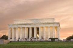 Memorial de Lincoln, Washington DC, por do sol Fotografia de Stock