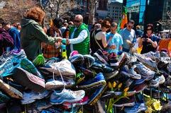 Memorial do bombardeio da maratona de Boston, EUA Fotografia de Stock