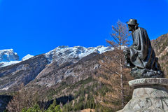 Memorial of Dr. Julius Kugy in Trenta in the Slovenian Triglav National Park, East Europe Stock Image