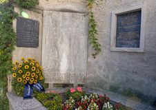 Memorial in Durnstein to French soldiers who fought in the Battle of Durnstein, 11th of November, 1805. The battle an engagement in the Napoleonic Wars during stock photo