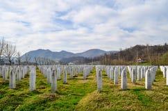 Memorial e cemitério de Srebrenica Fotografia de Stock Royalty Free