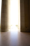 Memorial Entrance Pillars. Abraham Lincoln Memorial Entranceway through marble pillars. Bright sunlight outside Stock Image
