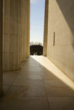 Memorial Entrance Pillars. Abraham Lincoln Memorial Entranceway through marble pillars. Bright sunlight outside Stock Photography