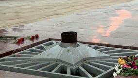 The memorial eternal flame. Memorial Eternal flame in memory of the fallen heroes stock video footage