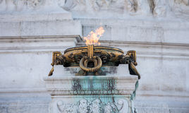 Memorial fire at the Vittorio Emanuele II monument Royalty Free Stock Photography
