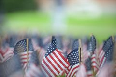 911 Memorial flag display Stock Photo