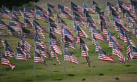 Memorial Flag Display. US and other flags on display honoring 9/11 victims Stock Image