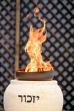 Memorial flame burning at memorial ceremony. TZUR SHALOM CEMETERY, ISRAEL - MAY 1, 2017. Memorial flame burning at memorial ceremony on Memorial Day for the stock photos
