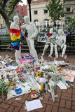 Memorial at Gay Liberation sculptures in Christopher Park  for the victims of the mass shooting in Pulse Club, Orlando Stock Image