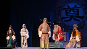 """The memorial hall before the confrontation- Beijing Opera"""" Women Generals of Yang Family"""" stock footage"""