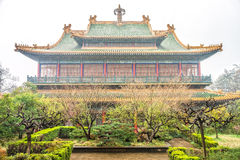 Memorial Hall and garden of former president Dr.Sun Yat-sen. Memorial Hall of Dr.Sun Yat-sen is on purple mountain near Nanjing City Royalty Free Stock Photo