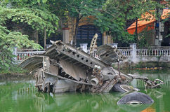 Memorial in hanoi on one lake: the wreckage of b52 Royalty Free Stock Photography