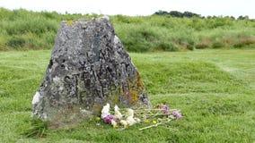Memorial Headstone at Culloden Battlefield (4k) stock footage