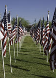 911 Memorial Healing Field American Flags. 911 Memorial Healing Field in Tempe, Arizona. Volunteers erect almost 3,000 American flags in honor of those who Royalty Free Stock Photography