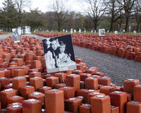 Memorial for 102,000 holocaust victims. Camp Westerbork in the east of the Netherlands (Drenthe) was a transit camp in World War 2. Some 102.000 people, mostly royalty free stock photography