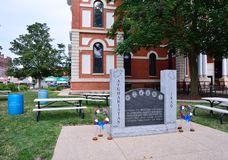 Memorial in honor of those who died in Afghanistan and Iraq. Pontiac, Illinois - July 16, 2017: Memorial in honor of the men and women of Livingston county Royalty Free Stock Image