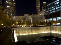 Memorial Infinity Pool New York Manhattan. With high rises in the background. Night illumination Stock Photography