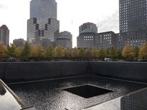 Memorial Infinity Pool New York Manhattan. With high rises in the background Stock Photo