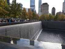 Memorial Infinity Pool New York Manhattan. With high rises in the background Stock Images