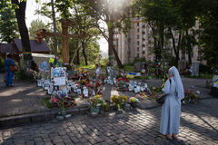 Memorial on the Instytutska str., Kyiv, Ukraine Royalty Free Stock Photos